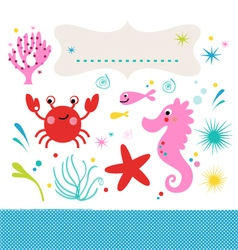 Sea creatures underwater scene isolated on white vector image vector image