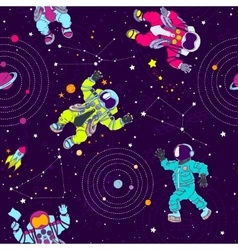 Seamless pattern with astronauts constellations vector image vector image
