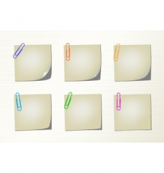 set notepad pages and clips vector image