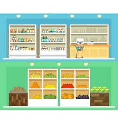 Shop interior with shelves grocery and vegetables vector image