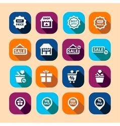 shopping long shadow icons vector image