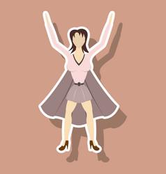 Super hero woman sticker poster in comic style vector