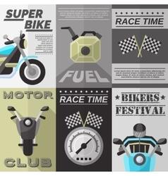 Vintage rider poster set vector