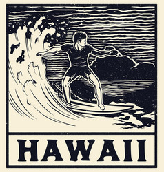 vintage surf print tee graphic design vector image