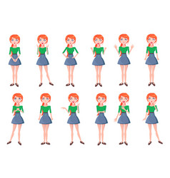 woman positive and negative emotions set vector image vector image