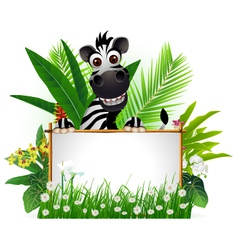 Funny zebra with blank sign and tropical forest vector