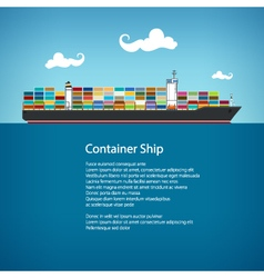 Cargo container ship and text vector