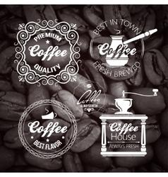 Coffe set label vintage background vector