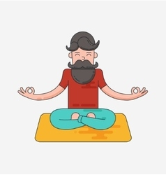 Bearded man in meditation vector