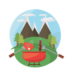 Grill bbq meal mountains landscape vector