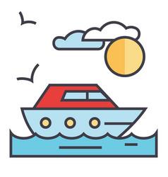 Sea travel yacht concept line icon vector