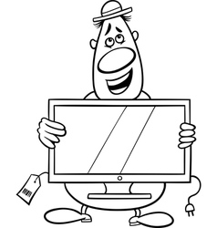 Salesman cartoon coloring page vector