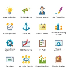 Seo and internet marketing flat icons - set 5 vector
