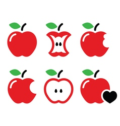 Red apple apple core bitten half icons vector