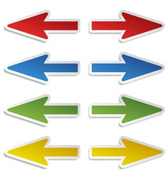 left and right arrow stickers vector image