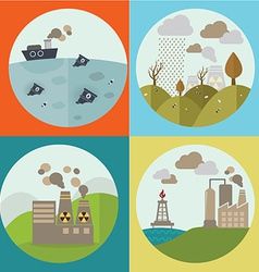 Pollution icons vector