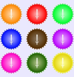 Sword icon sign a set of nine different colored vector
