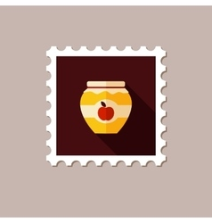Apple jam jar flat stamp with long shadow vector