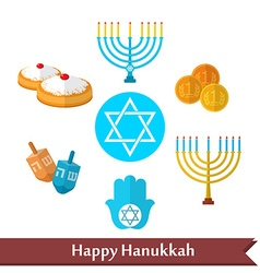 Happy hanukkah flat icons set with dreidel game vector