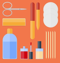 Flat set of manicure equipment vector