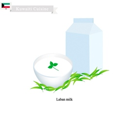 Laban or kuwaiti fermented milk with sour flavor vector
