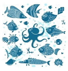 Set imprint cute fish and octopus for the design vector