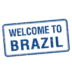 Welcome to brazil blue grunge square stamp vector
