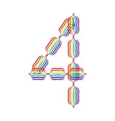Number 4 made in rainbow colors vector