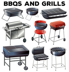 Set of bbqs and grills equipment vector image