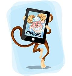 Aries Monkey horoscope vector image