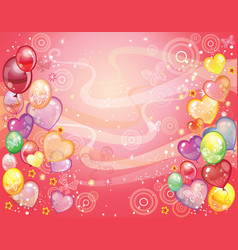 Background with balloons red vector