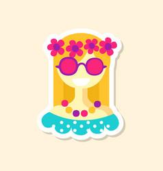 Beautiful hippie girl cute sticker in bright vector