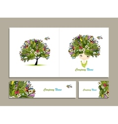 Business cards tropical girl for your design vector
