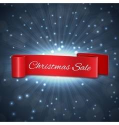 Christmas sale ribbon vector