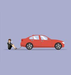 Desperate business woman with car debt burden vector