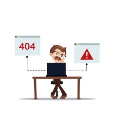 Error 404 people cartoon laptop frustrated vector