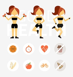 Fitness woman sport equipment caring figure and vector
