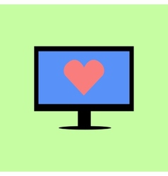 Flat style computer with red heart vector image