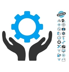 Gear maintenance hands icon with air drone tools vector