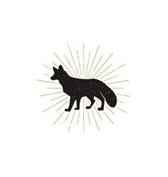Hand drawn fox silhouette vintage vector