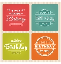 Happy birthday typography label set vector image vector image