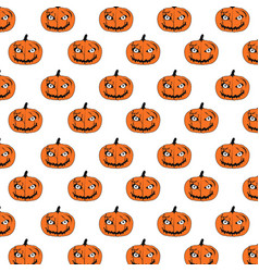 happy halloween pumpkins pattern vector image vector image