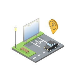Isometric of car parking place with billboard vector