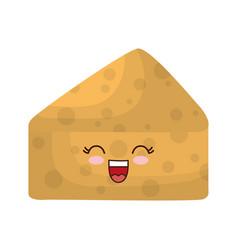 Kawaii cheese icon vector
