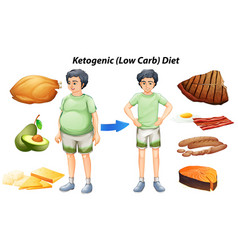 Ketogenic diet chart with different types of food vector