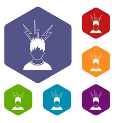 lightning above the head of man icons set vector image vector image