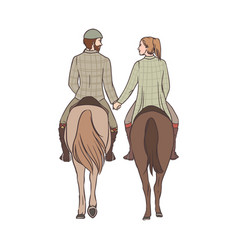 Man and woman riding horses together holding vector