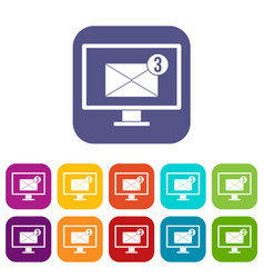 Monitor screen with email sign icons set flat vector