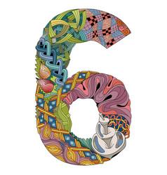 Number six zentangle decorative object vector