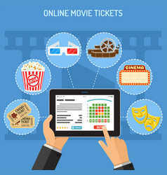 Online cinema ticket order concept vector